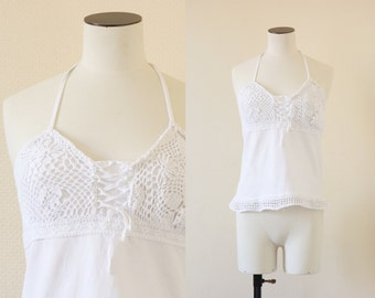 Crochet top || White crochet and cotton open back blouse || 1990's by cubesansquirrels ||extrasmall to small