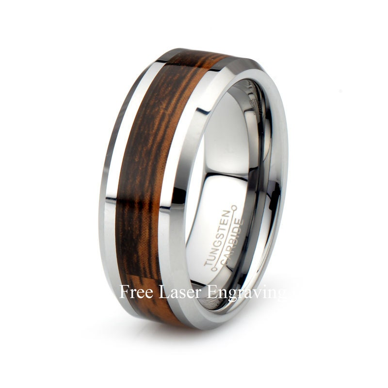 Male Wedding Bands Wood Inlay: Mens Wood Inlay Tungsten Carbide Wedding Band Beveled Polished