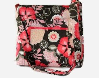 Pink and Dark Gray Floral Fabric Crossbody Bag Purse - Outside Pocket - Pink Messenger Bag - Floral Shoulder Bag - Adjustable Strap