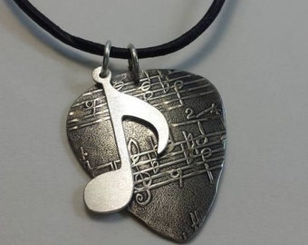 Sterling Silver Guitar Pick necklace with music note charm by NiciLaskin - GPN005