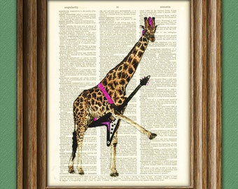 The punk giraffe's guitar solo is blazing giraffe illustration beautifully upcycled dictionary page book art print