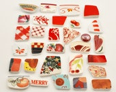 Broken China - Mosaic Tiles - Shades of  Red - Assortment - Cabochon Collection - Set of 30
