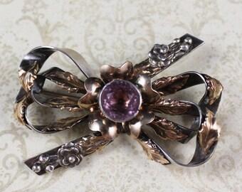 Vintage 1940s Sterling Gold Wash Amethyst Glass Hobe Floral Bow Brooch