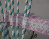 Damask Happy Birthday Straw Flags with Striped Straws - Brunch Lunch Yoga Zumba Birthday Adult Cocktail Party