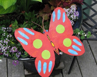 Butterfly Art Sculpture 3D Recycled Metal Garden Decor Red Orange