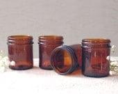 Vintage Amber Glass Jars Lot of 4 Medicine Jars
