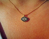 Evil eye necklace - blue necklace - evil eye jewelry - cubic zirconia - turkish eye necklace - jewelry - gift ideas for her - valentines day