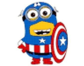 Minion Captain America Amigurumi : Vitbich Art and Craft by vitbich on Etsy