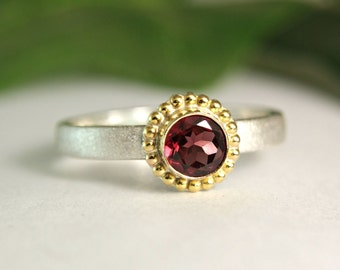 Pink Garnet Ring, Natural Gemstone Ring, Two Tone Jewelry, Rhodolite Garnet Ring, January Birthstone