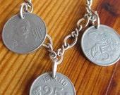 Vintage souvenir coin bracelet