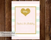 Mint and Blush Pink Stripe Gold Heart First Birthday Party Invitation, Gold Glitter Heart, Glitter Invitation, 1st Birthday Invitation