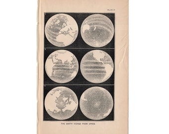 1872 EARTH VIEWED from SPACE print original antique celestial astronomy lithograph