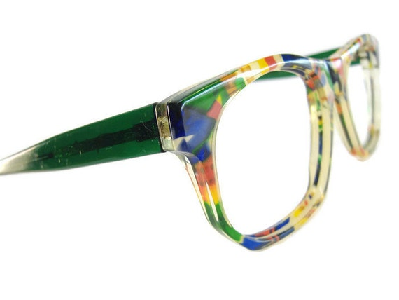 vintage 1970s multi colored big lens eyeglasses eyewear frame
