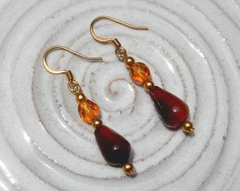 Agate and Amber AB Swarovski Crystal Dangle Earrings With Gold Plate