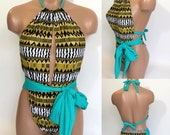 Constrast one piece swimsuit