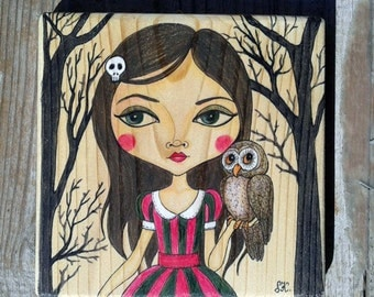 My Woodland Friend(on wood)-Original Fine Art colored pencil illustration