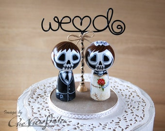 2.5 inches Customise Wedding Cake Topper with wire texts, - skull, zombie. monster, creature, halloween