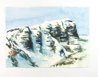 Rocky Mountain Landscape Painting - Original Watercolor