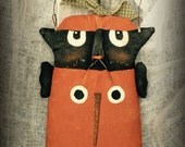 Primitive Halloween Cat in Pumpkin Wall Decor
