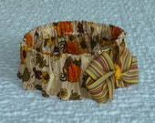 """Harvest Bounty Thanksgiving Dog Scrunchie Collar with striped bow - XL: 18"""" to 20"""" neck - TrY Me PriCe"""