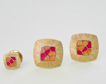 Enamel Cufflinks and Tie Tac Set. Copper and Red Tile Pattern Enamel on Gold Tone.