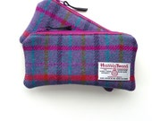 Pink tartan Harris Tweed Pencil , Scottish gift , padded pouch , organiser