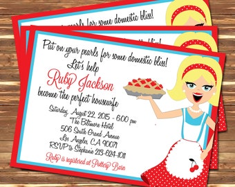 Perfect Housewife Retro Vintage 50's Invitation Bridal Shower Printable