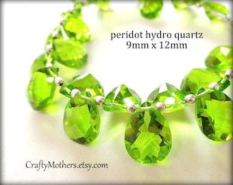 PERIDOT GREEN Quartz Faceted Pear Cut Stone Briolettes - (1) Matched Pair, 9mm x 12mm
