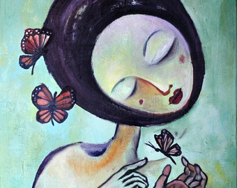 Monarch Butterfly Art Matted Signed Print Painting 'Cocooning' Figure Face - Mint Green