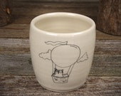 handmade ceramic cup: owl in hot air balloon