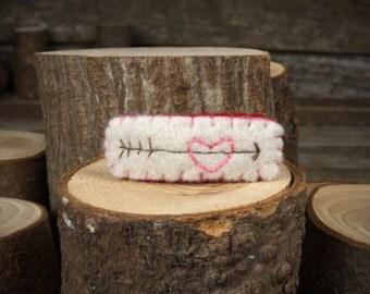 hand-stitched wool felt hair clip: heart with arrow by Kata Golda