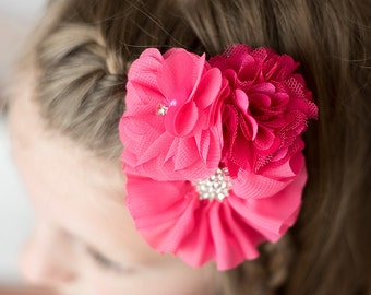 Hot Pink Clip, wedding flower girl, bridal hair accessories, girl birthday gift, baby shower gift, photography prop, flower hair clip, women