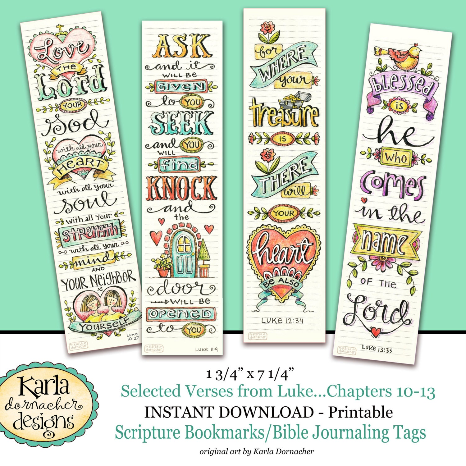 Religious bookmarks to color - Luke 10 13 Bible Bookmarks Art Journaling Illustrated Faith Instant Download Scripture Digital Printable Christian