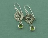 Om Earrings - sterling silver dangle earrings, silver yoga earrings, handmade