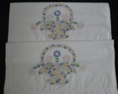 2 Vintage Pillowcases Cotton Pillow Cases Hand Embroidered Flower Baskets  ECS