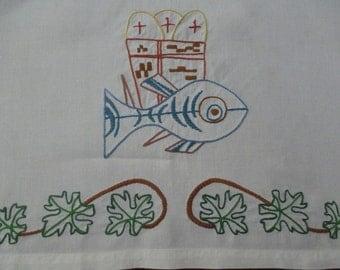 Vintage Religious Linen Textile Embroidered Catholic