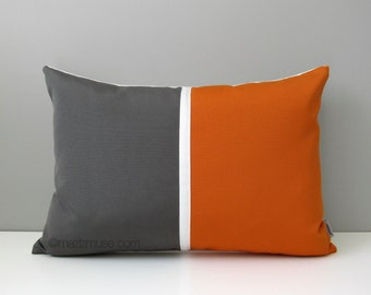 Charming Grey U0026 Orange Outdoor Pillow Cover, Mid Century Modern Color Block,  Decorative Gray