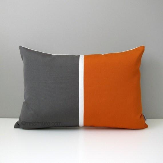 Mid Century Modern Outdoor Pillows : Grey & Orange Outdoor Pillow Cover Mid-Century Modern Color