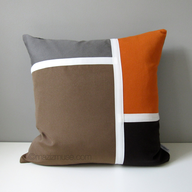 Modern Sunbrella Outdoor Pillow Cover Decorative Brown Grey