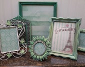 Shabby Chic Mint Picture Frames (set of 6) Hand Painted Vintage Pictures Frames, Wall Decor, French Country, Nursery Decor, Home Decor