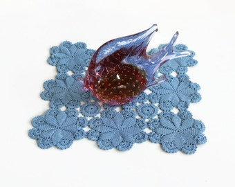 Hand Dyed Vintage Square Lace Doily Blue Crochet Rustic Table Mat Hand Crocheted Handmade.