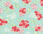 Hello Darling Fabric by Bonnie and Camille for MODA 13 Floral Picnic Red and Blue Flowers on Aqua Blue
