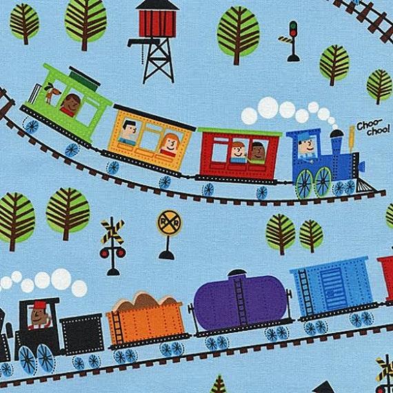 Timeless treasure fabric cute cartoon kids on a choo choo for Kids train fabric