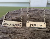 bar necklace, sterling silver, baby name necklace, personalized jewelry