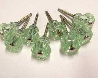 "8 Glass Knobs Green Petite 1"" Craft Small Furniture Vanity Drawers Jewelry Box Door  Supplies"