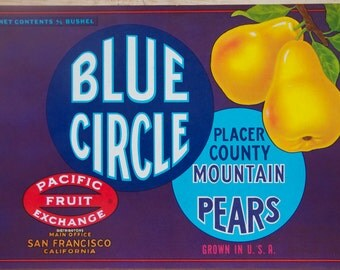 Fruit Crate Label, Vintage Label Art, Blue Circle Pears, Authentic Advertising Art, Placer County, CA