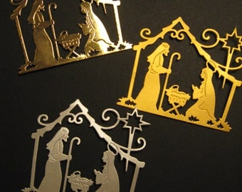 6 Nativity Die Cuts: Choose Color Christmas Stamping supplies Handmade card