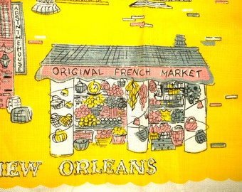 Vintage yellow Linen Kitchen Towel • NEW ORLEANS • new with tag • RN 16604