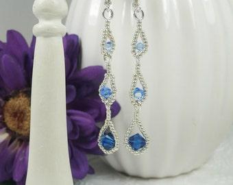 Dangle Earrings Woven Swarovski Crystals Sapphire Blue