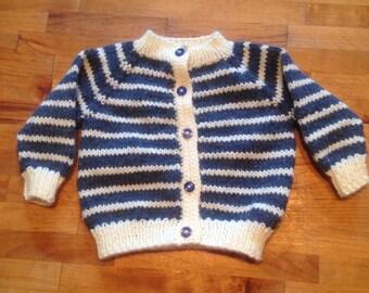 Handmade knit striped baby sweater